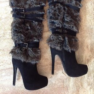 JustFab faux fur knee high boots nwot